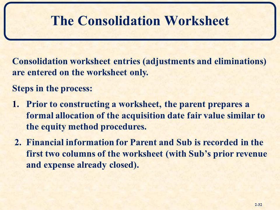 Consolidation Of Financial Information Ppt Download. The Consolidation Worksheet. Worksheet. Consolidation Worksheet Definition At Clickcart.co