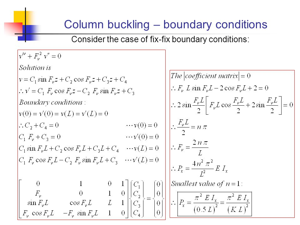 Column buckling – boundary conditions