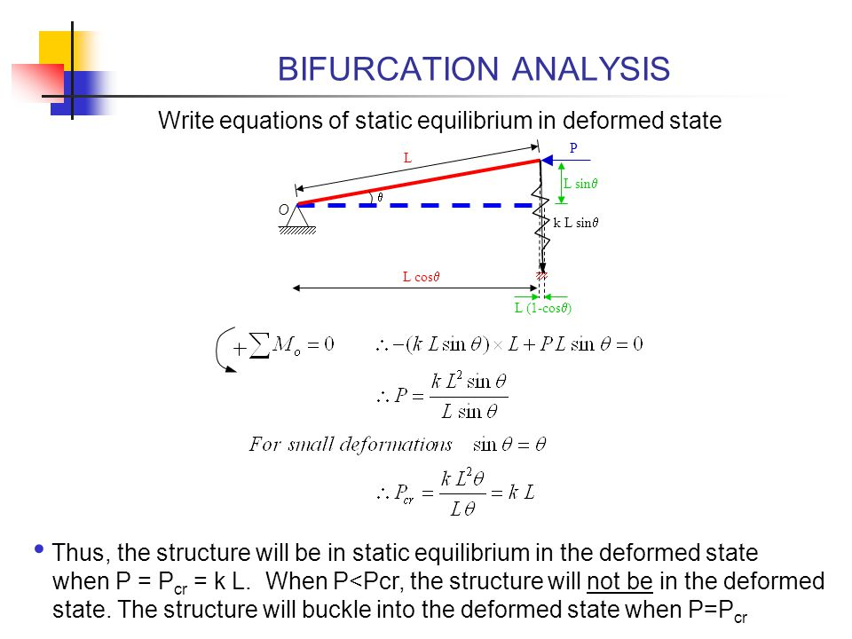 BIFURCATION ANALYSIS Write equations of static equilibrium in deformed state. P. L. L sinq. q. O.