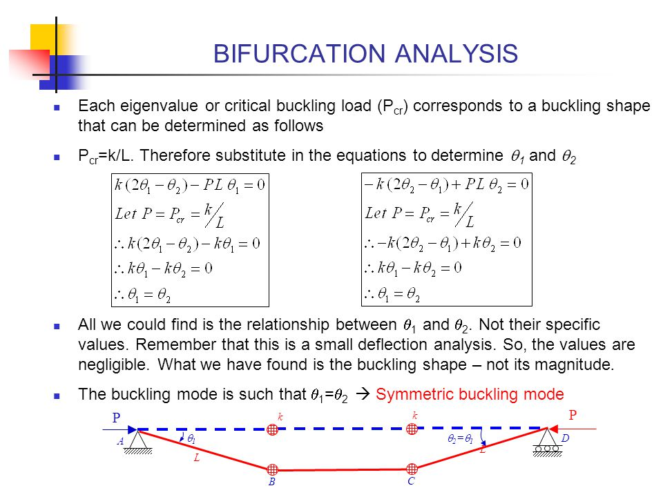 BIFURCATION ANALYSIS Each eigenvalue or critical buckling load (Pcr) corresponds to a buckling shape that can be determined as follows.