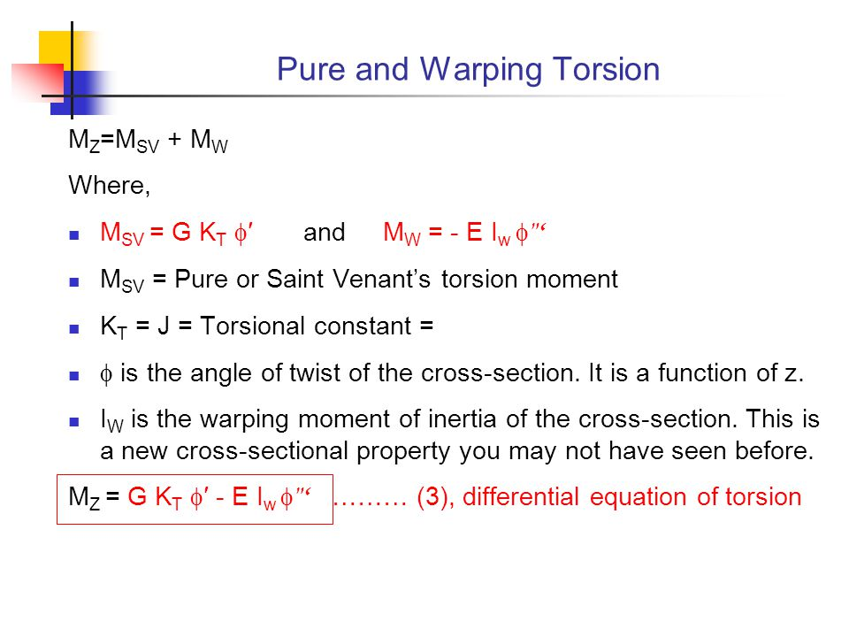 Pure and Warping Torsion