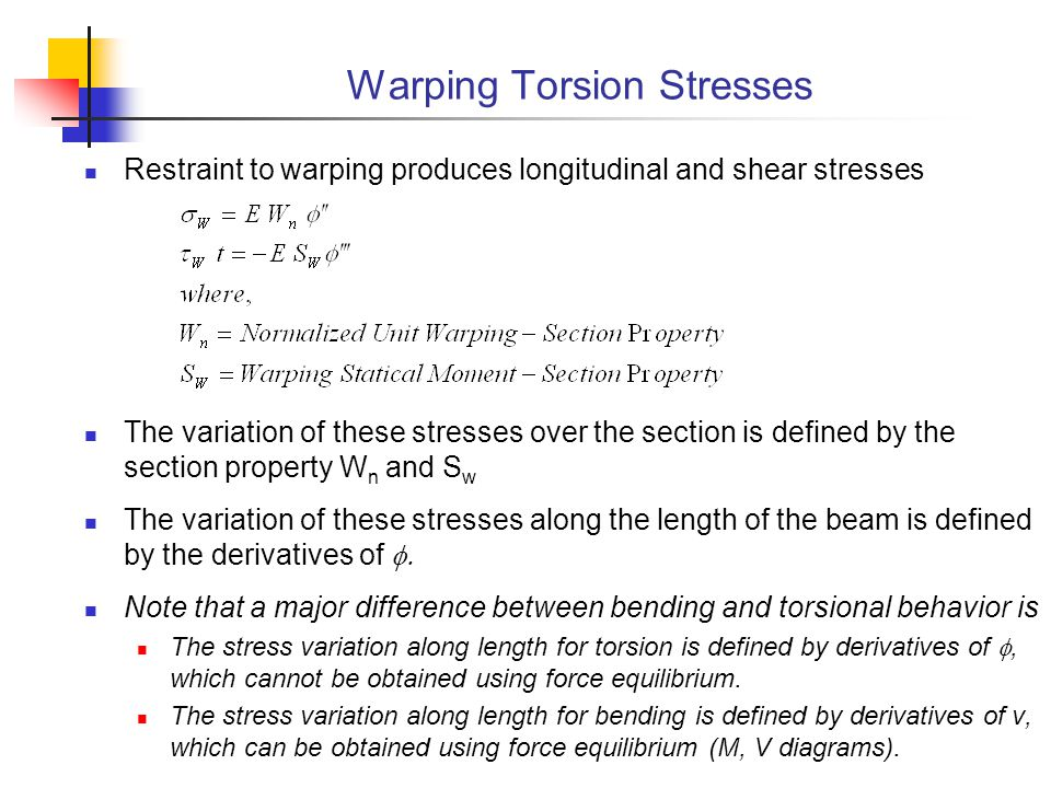 Warping Torsion Stresses