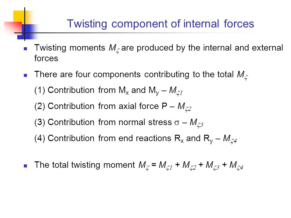 Twisting component of internal forces
