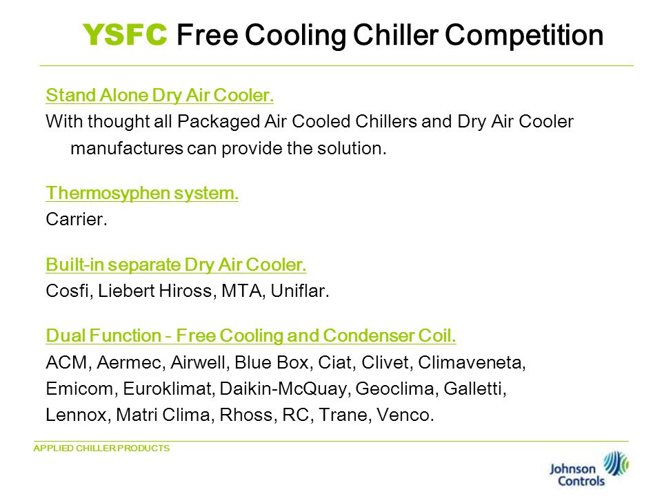 YSFC New York Screw Free Cooling - ppt download