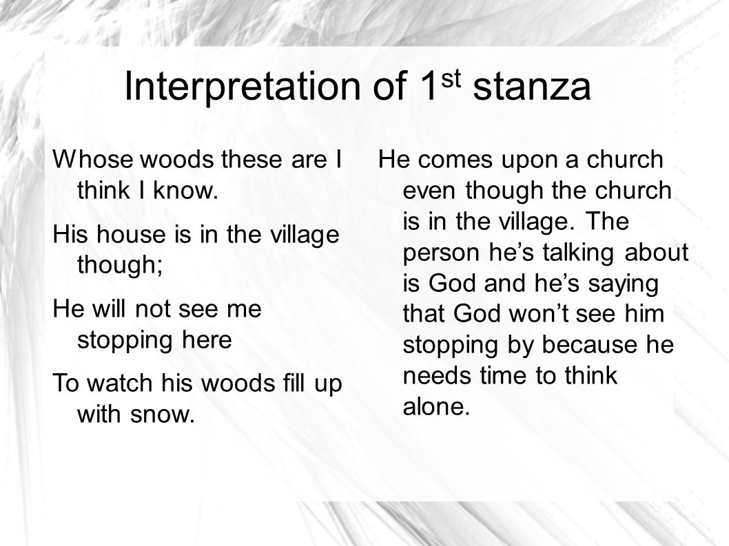 stopping by woods on a snowy evening stanza 2 explanation