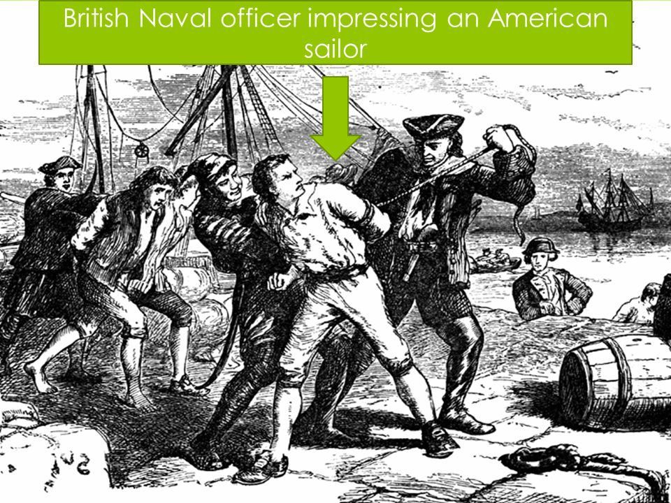 British Naval officer impressing an American sailor