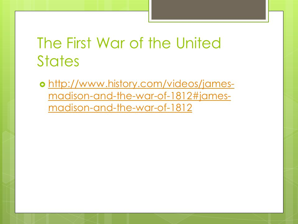 The First War of the United States