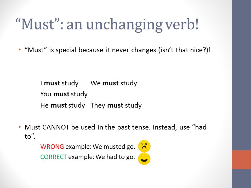 Must : an unchanging verb!