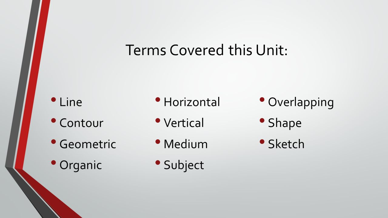 Terms Covered this Unit: