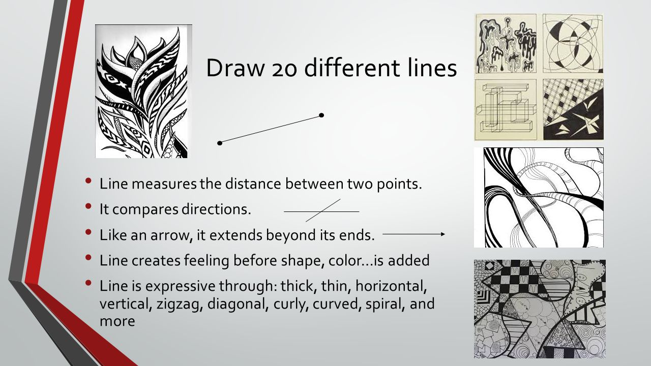 Draw 20 different lines Line measures the distance between two points.