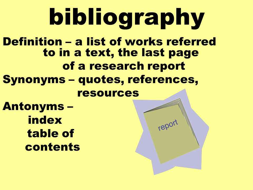 annotated bibliography antonym
