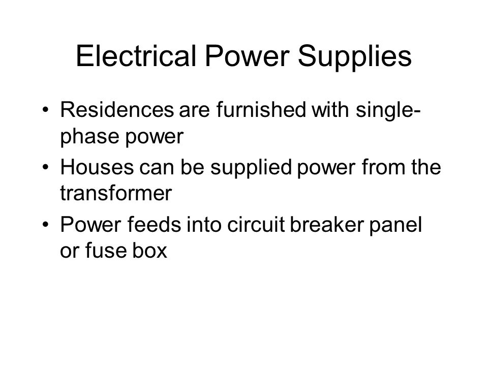 Electrical Power Supplies