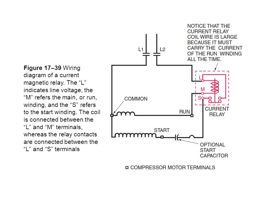 Figure 17–39 Wiring diagram of a current magnetic relay