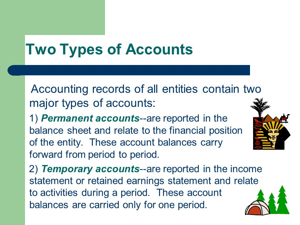 Two Types of Accounts Accounting records of all entities contain two major types of accounts: