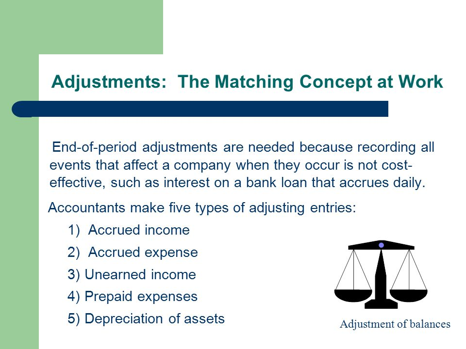 Adjustments: The Matching Concept at Work