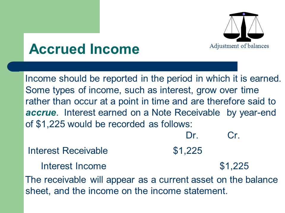 Accrued Income Adjustment of balances.