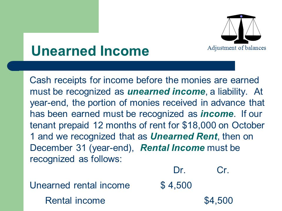 Unearned Income Adjustment of balances.