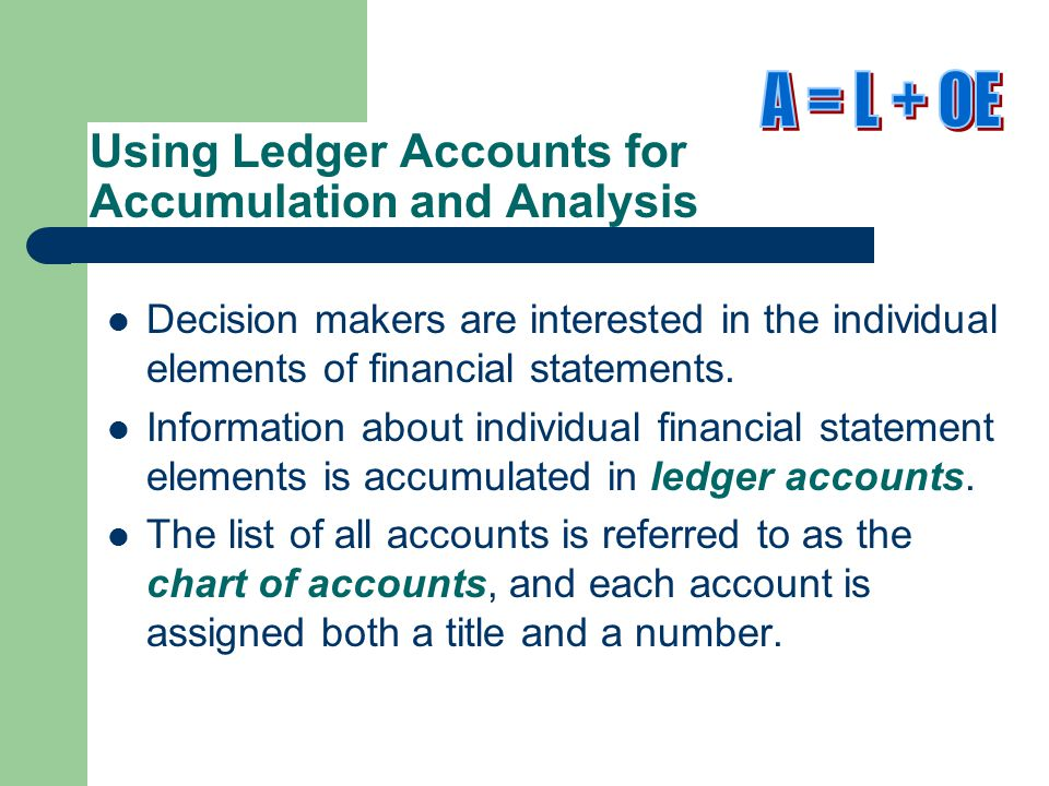 Using Ledger Accounts for Accumulation and Analysis