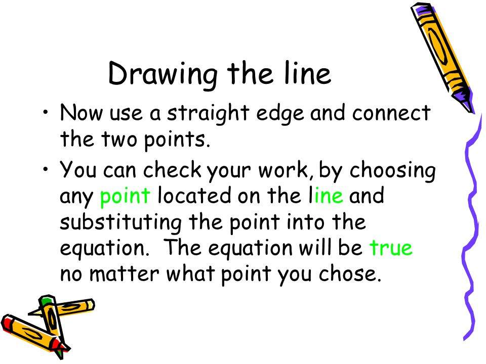 Drawing the line Now use a straight edge and connect the two points.