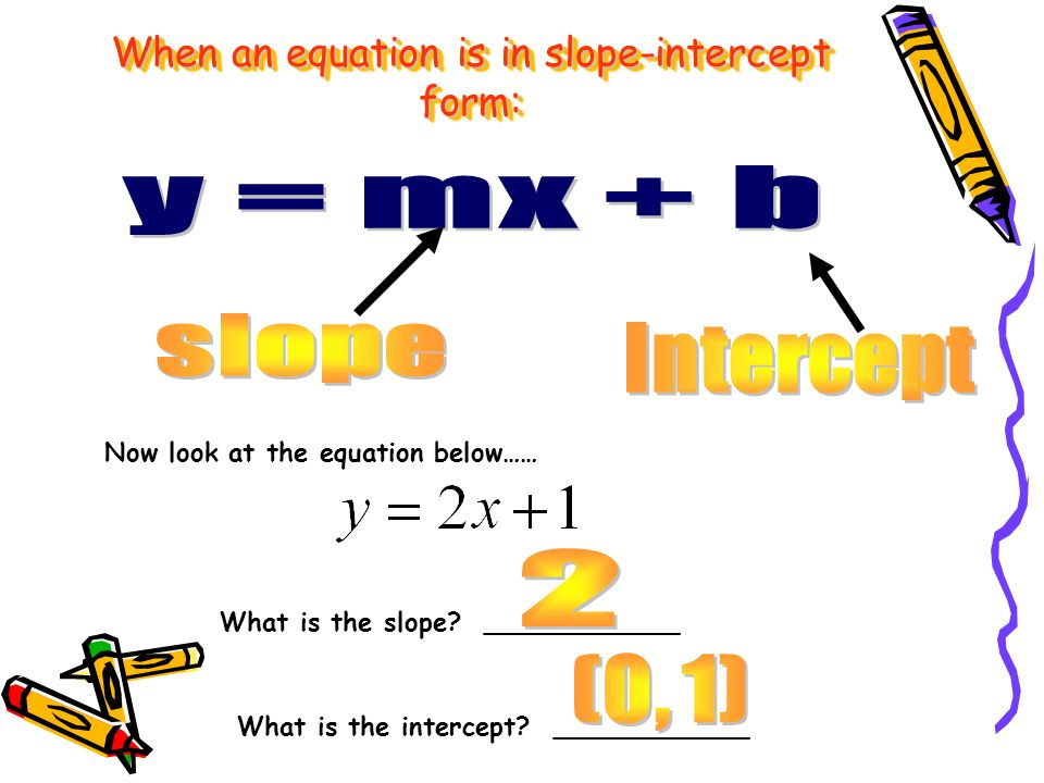 When an equation is in slope-intercept form: