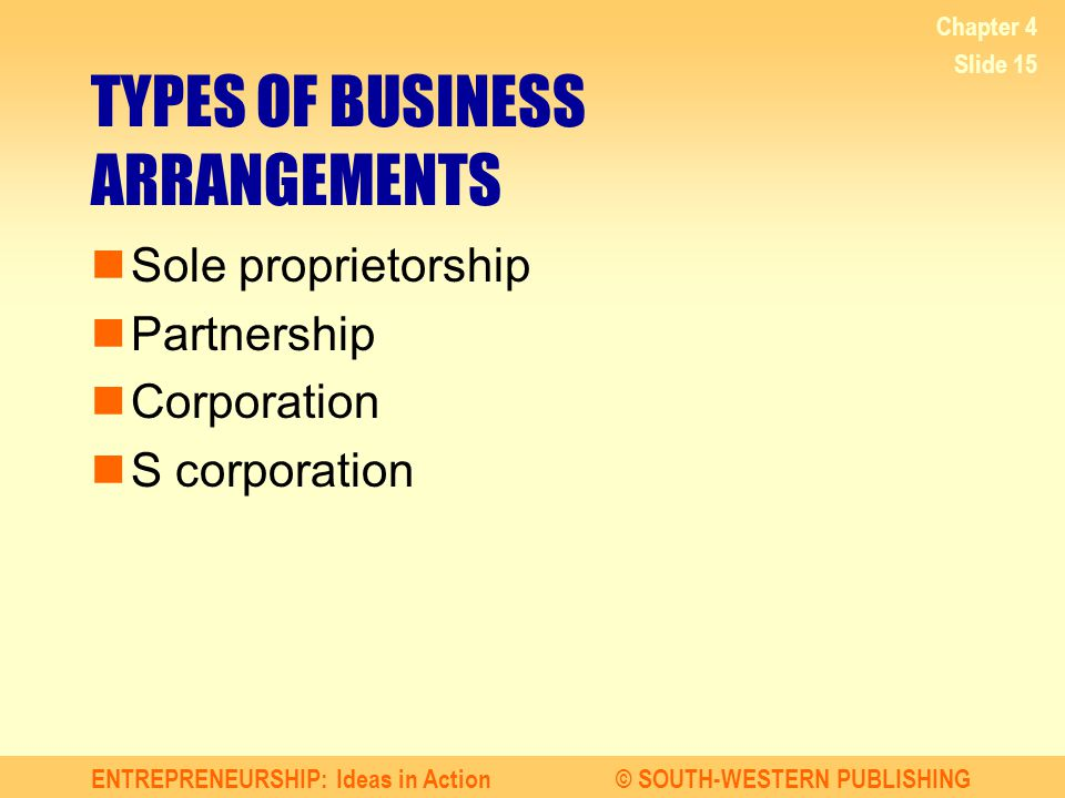 TYPES OF BUSINESS ARRANGEMENTS