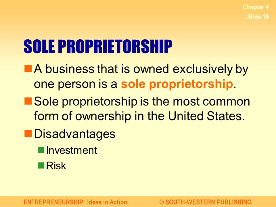 Chapter 4 SOLE PROPRIETORSHIP. A business that is owned exclusively by one person is a sole proprietorship.