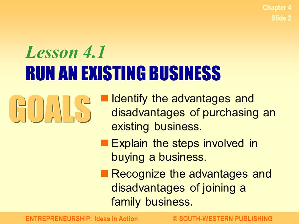 Lesson 4.1 RUN AN EXISTING BUSINESS