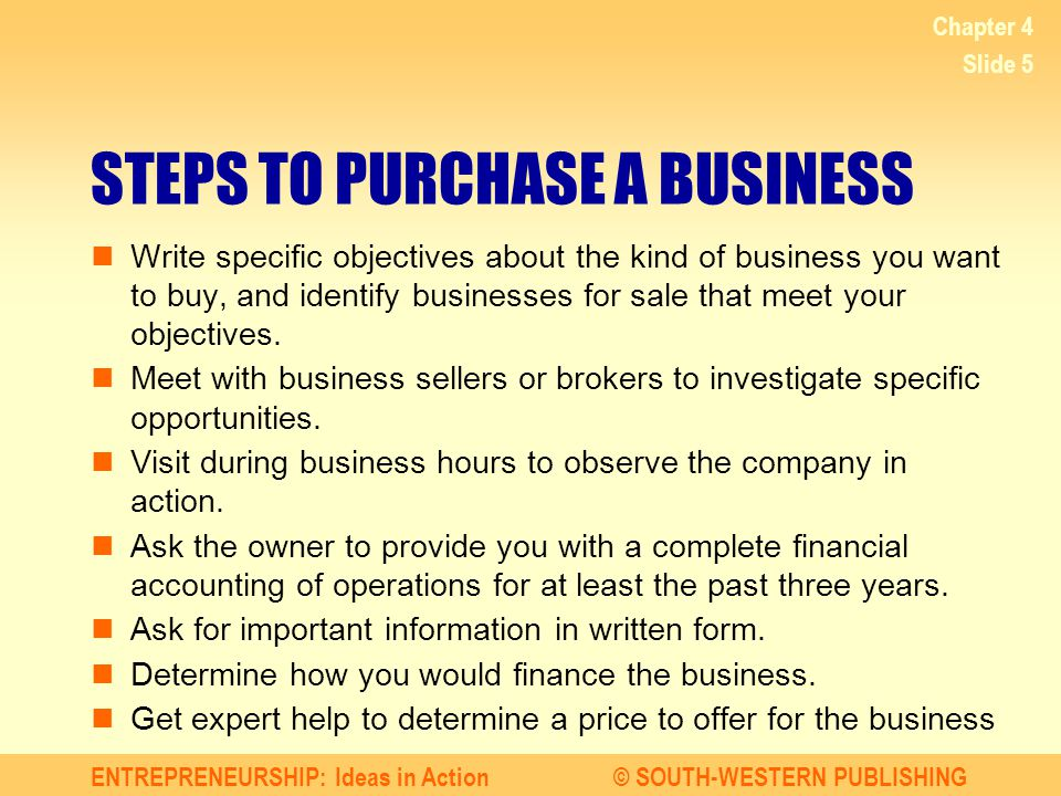 STEPS TO PURCHASE A BUSINESS