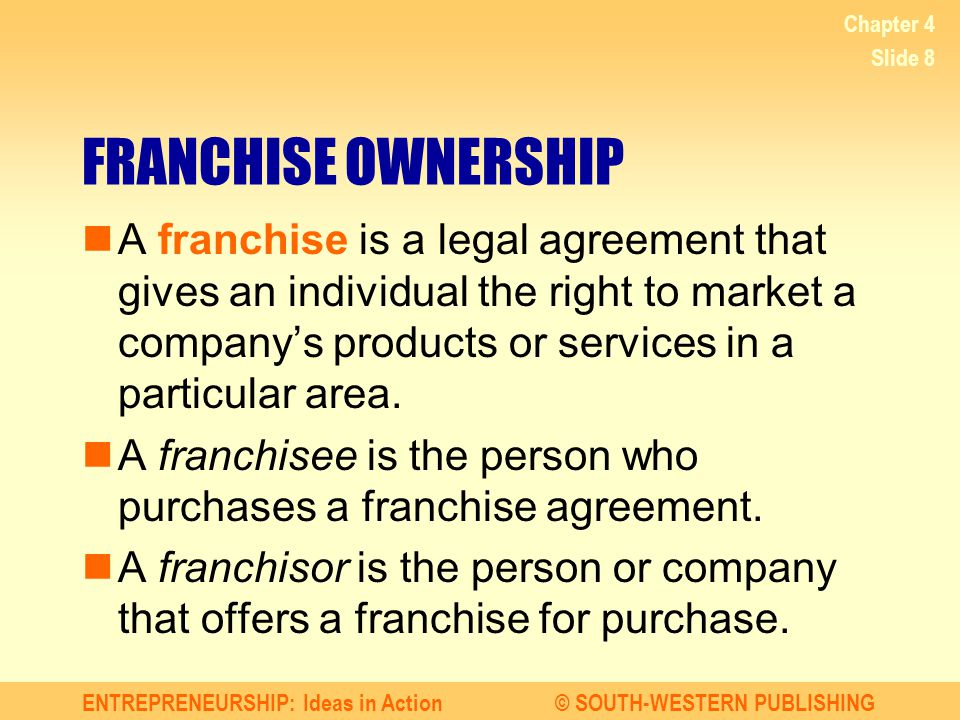 Chapter 4 FRANCHISE OWNERSHIP.