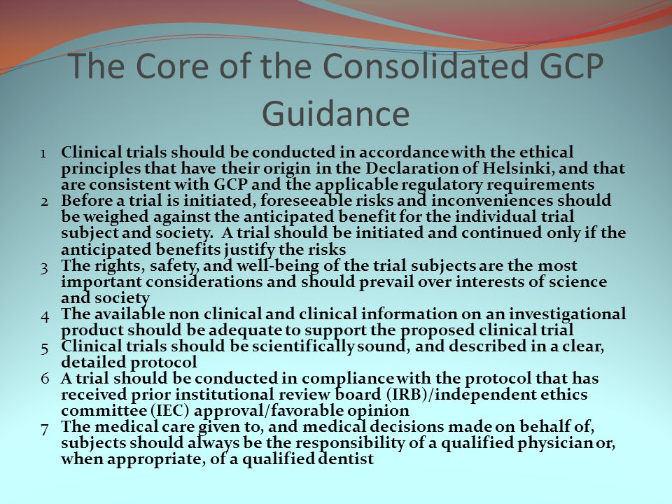 The Core of the Consolidated GCP Guidance