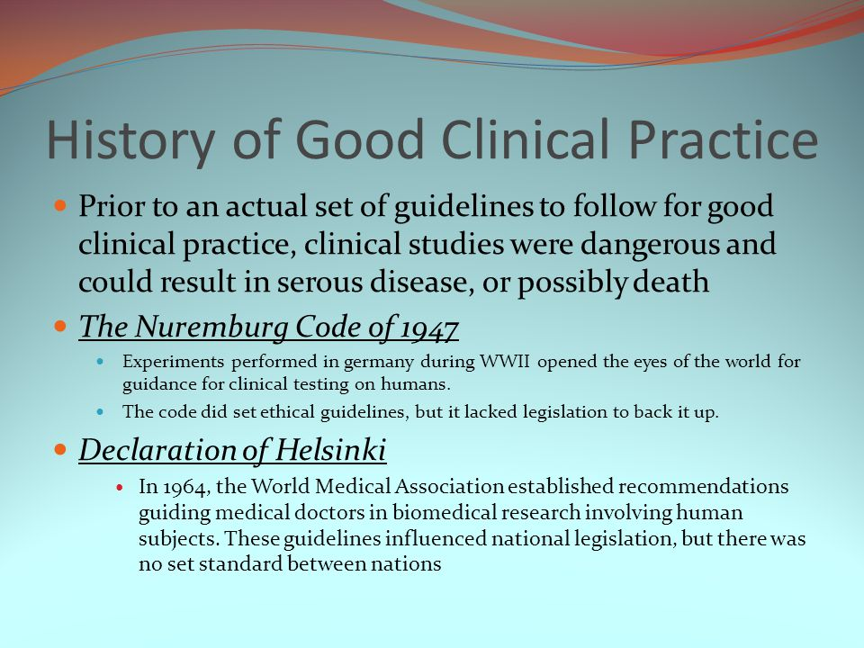 History of Good Clinical Practice