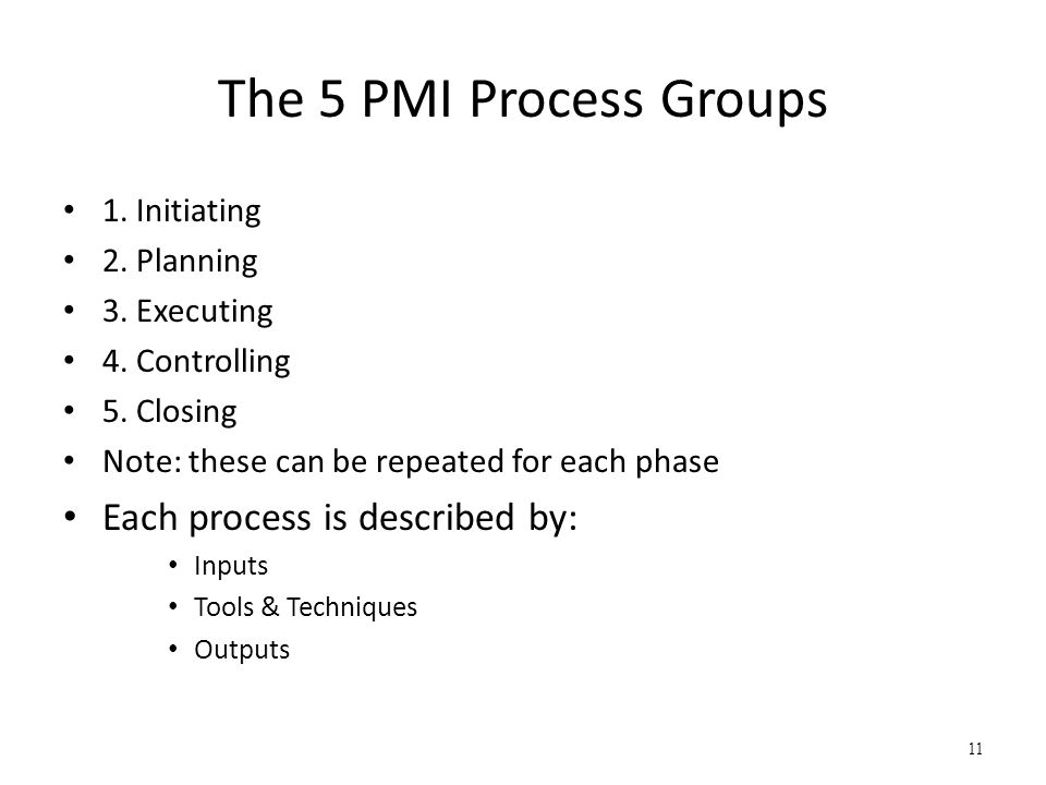 The 5 PMI Process Groups Each process is described by: 1. Initiating
