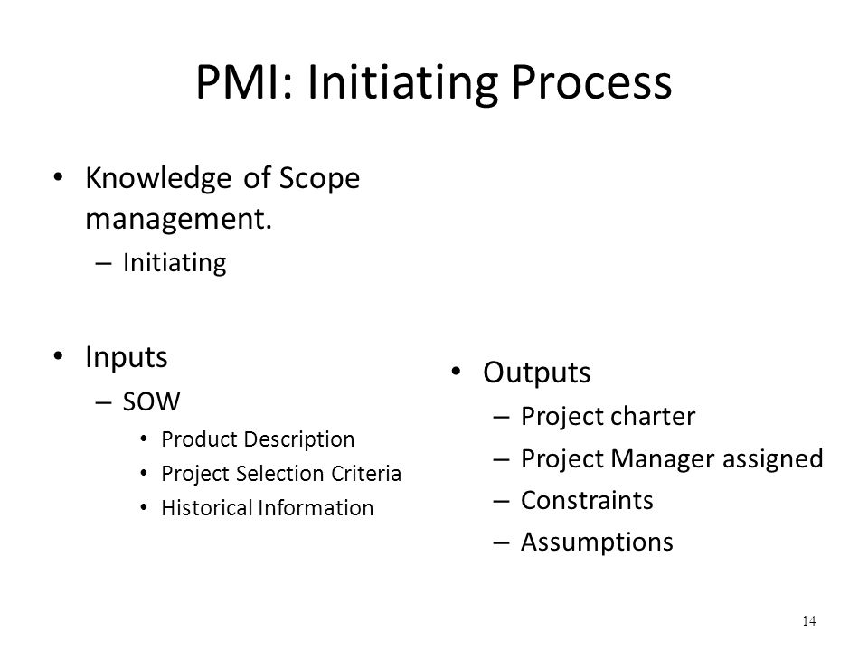 PMI: Initiating Process
