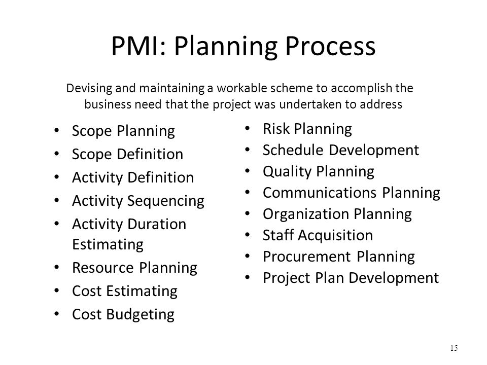 PMI: Planning Process Scope Planning Scope Definition