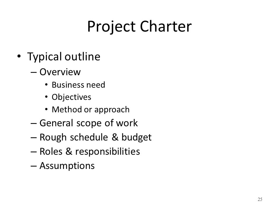 Project Charter Typical outline Overview General scope of work