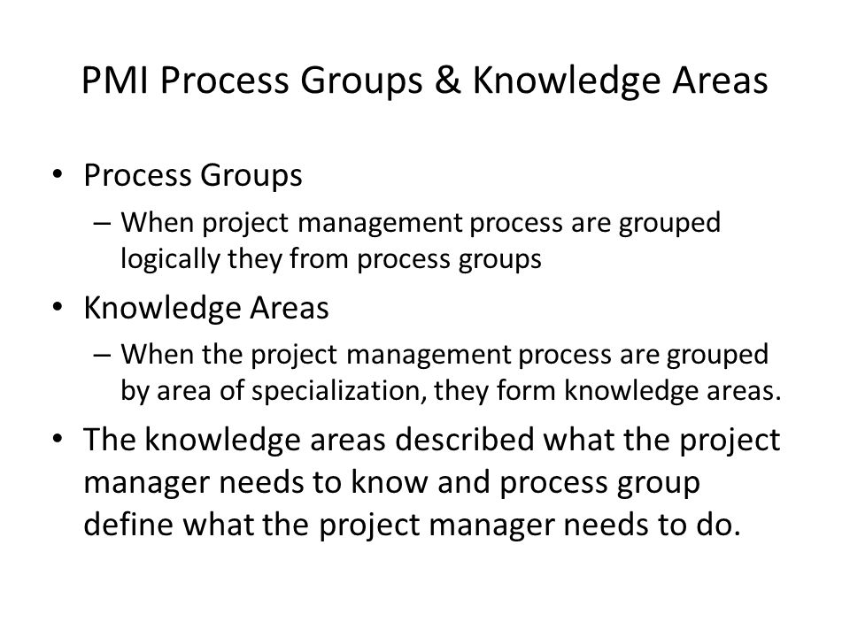 PMI Process Groups & Knowledge Areas