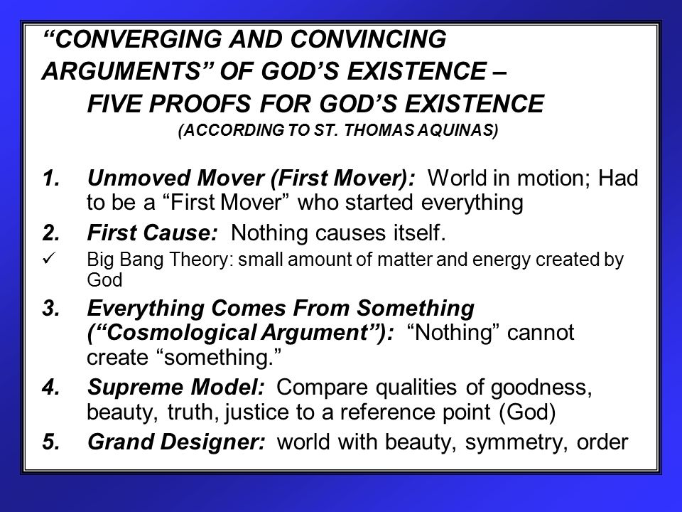 the five proofs of the existence of god