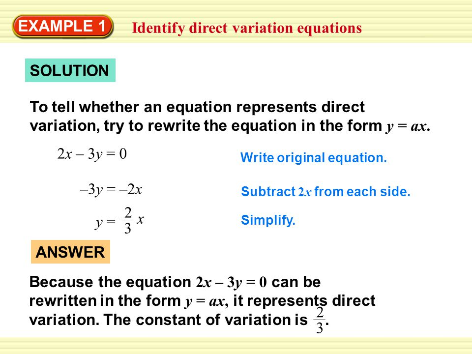Example 1 Identify Direct Variation Equations Ppt Download
