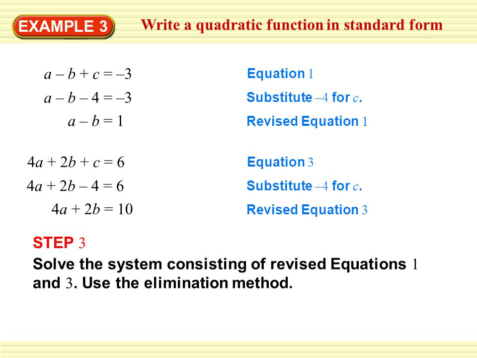 Write a quadratic function in standard form
