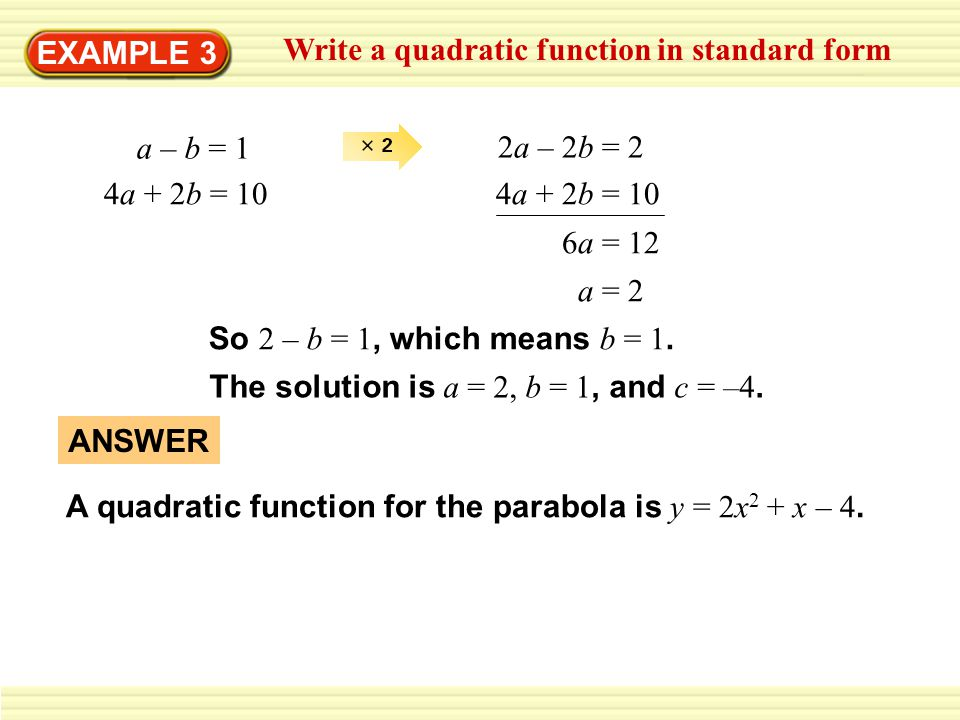 Write A Quadratic Function In Vertex Form Ppt Video Online Download