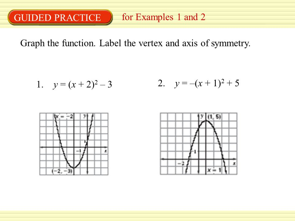 GUIDED PRACTICE for Examples 1 and 2. Graph the function. Label the vertex and axis of symmetry. 1. y = (x + 2)2 – 3.