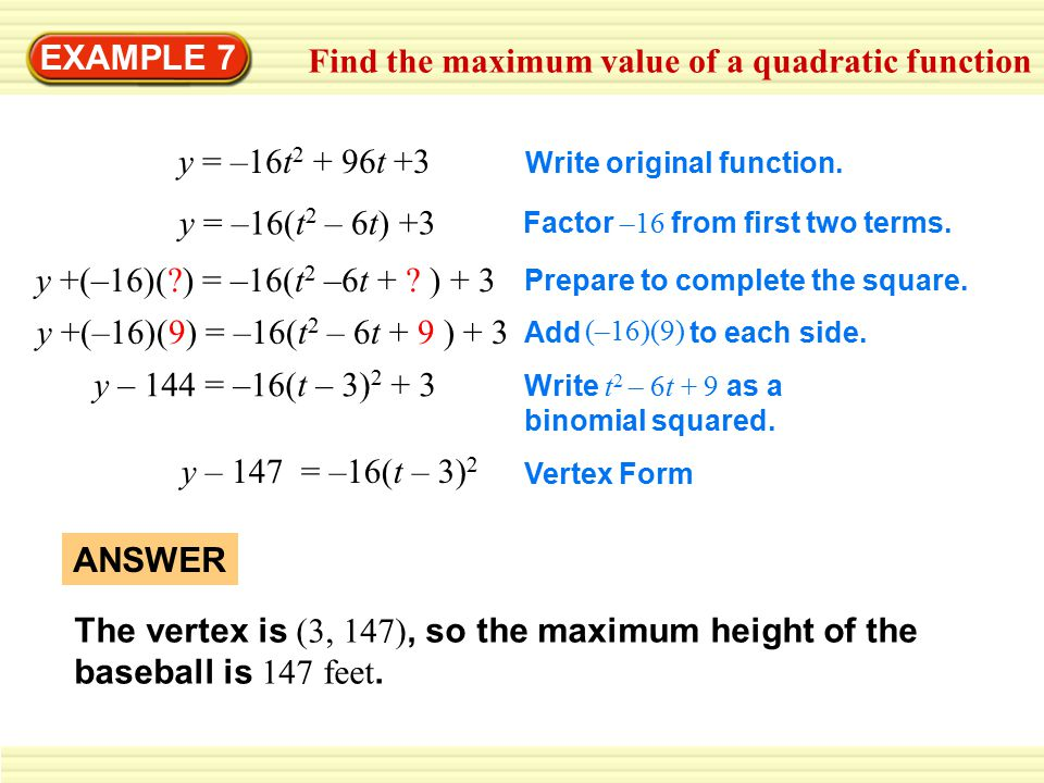 Find the maximum value of a quadratic function
