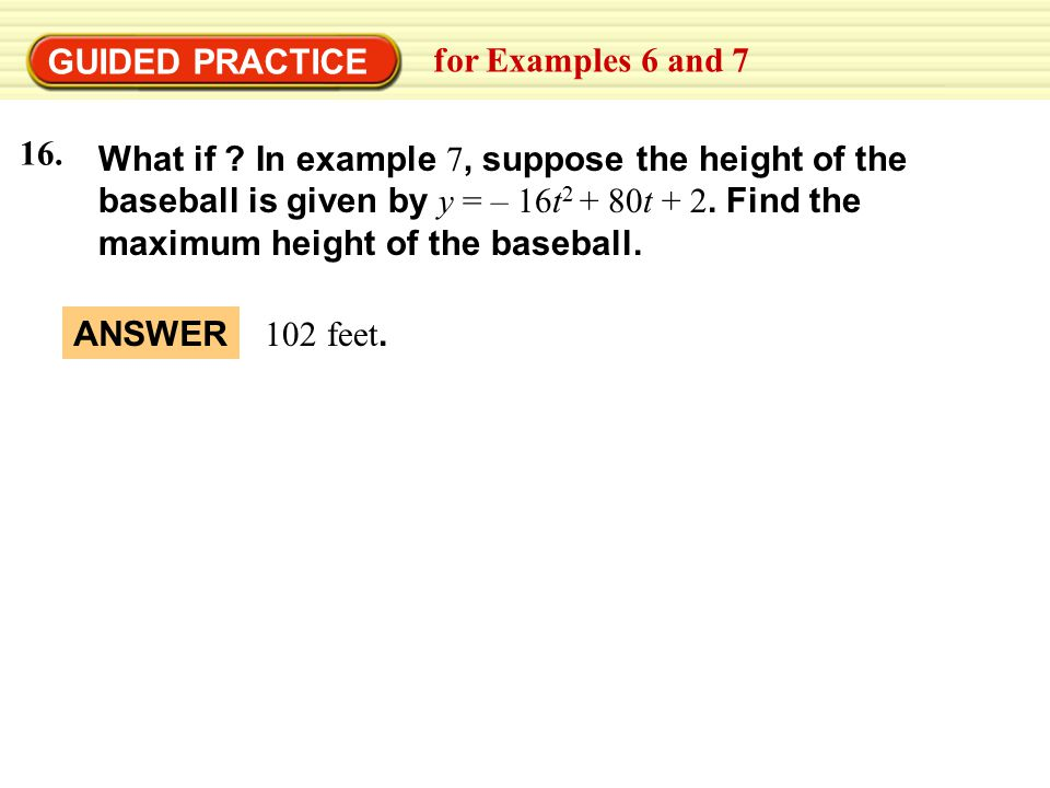 GUIDED PRACTICE for Examples 6 and