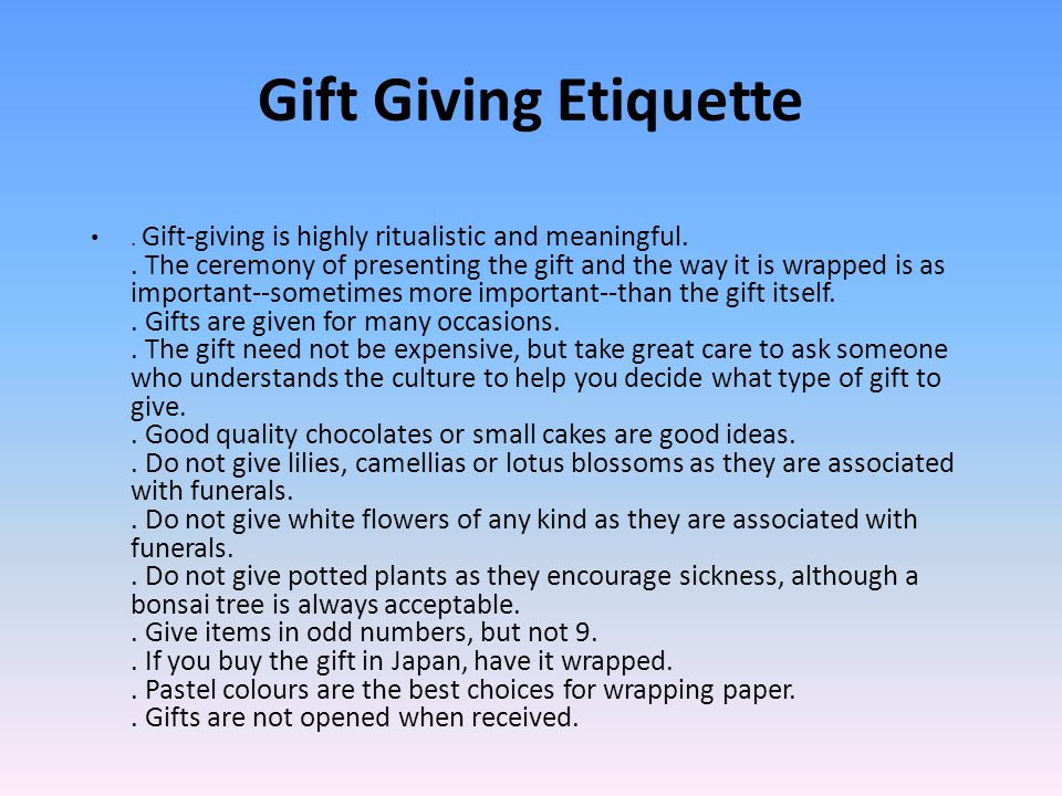 gift giving etiquette in business