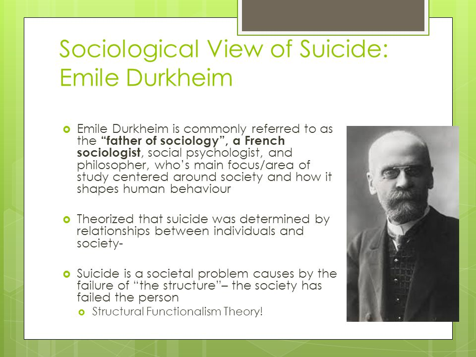Sociological View of Suicide: Emile Durkheim