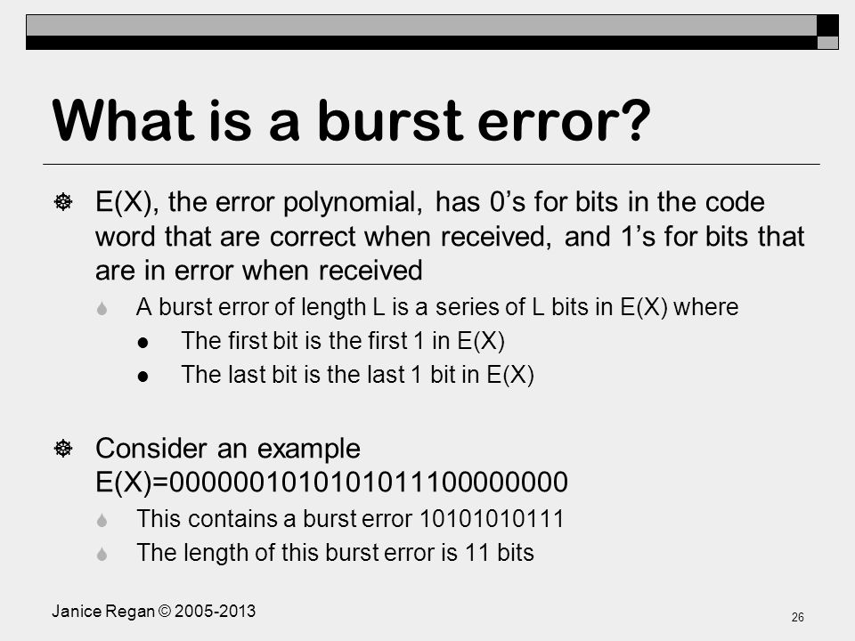 Proof Of CRC Burst Error Detection Checksum Result