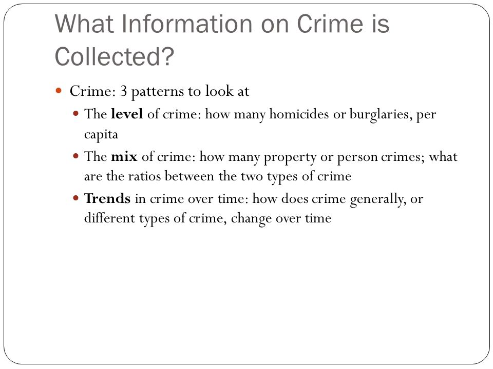 What Information on Crime is Collected