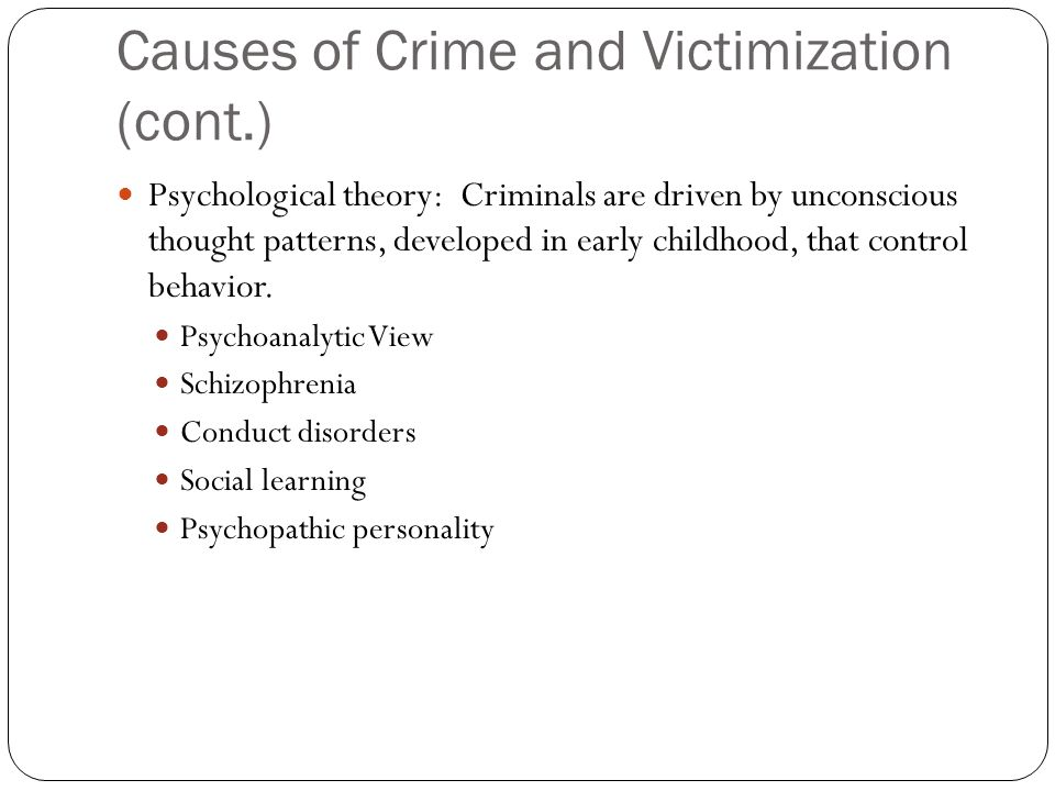 Causes of Crime and Victimization (cont.)