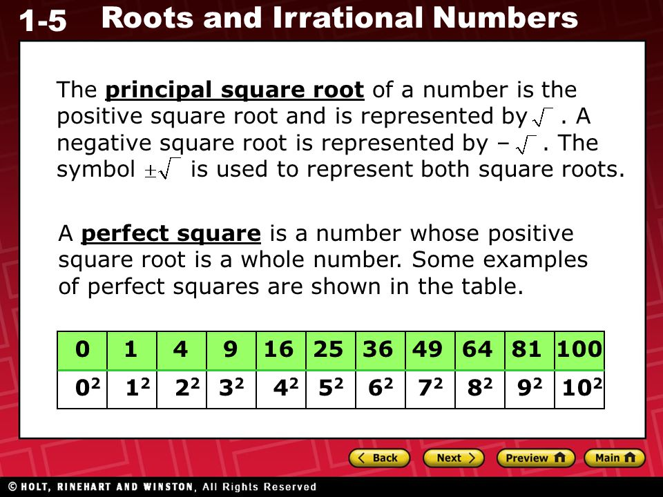 The principal square root of a number is the positive square root and is represented by . A negative square root is represented by – . The symbol is used to represent both square roots.
