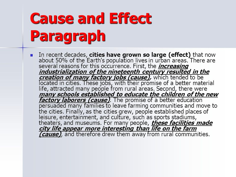 cause effect paragraph examples